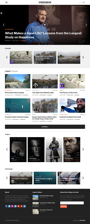 Videobox: el mejor tema premium de WordPress para videos y música