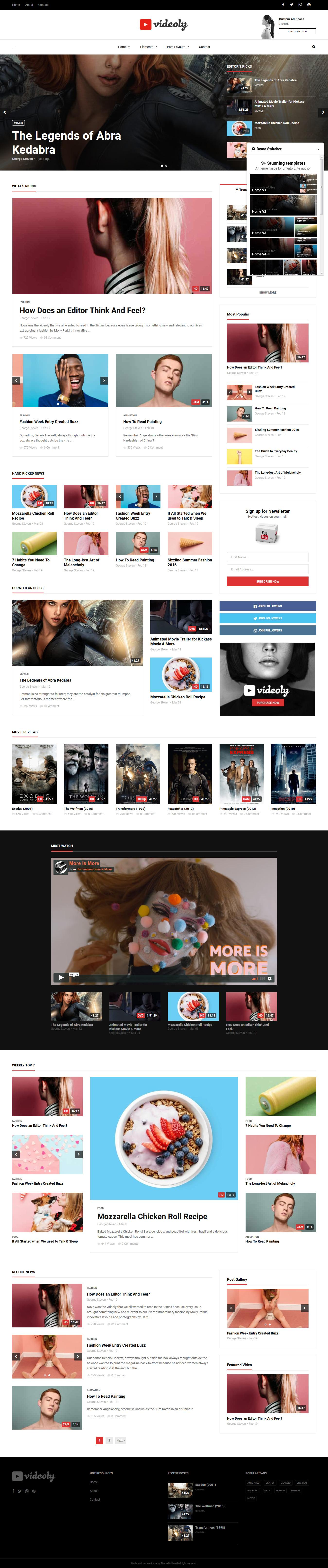 Videoly - Mejor tema premium de WordPress para videos y música