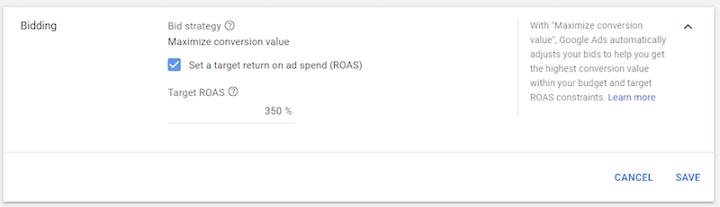 opción de ROAS objetivo en los anuncios de Google
