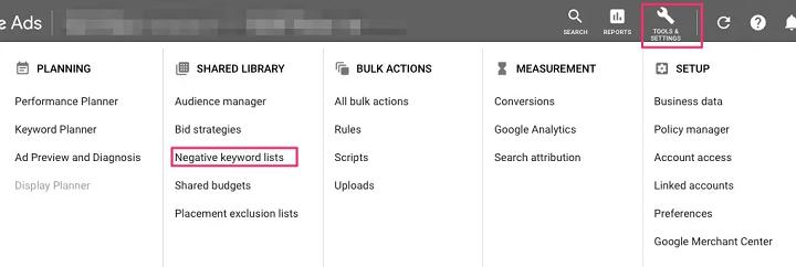 pestaña de lista de palabras clave negativas en el panel de anuncios de Google