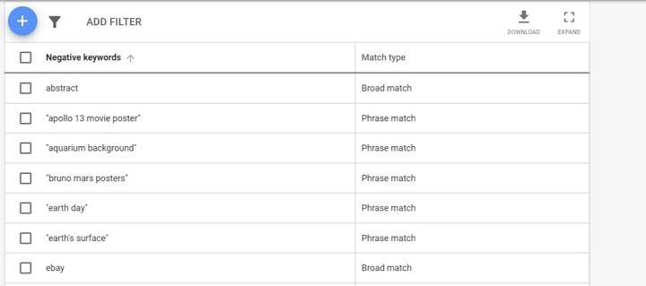 ejemplo de lista de palabras clave negativas para la estructura de ofertas de prioridad de compras de Google