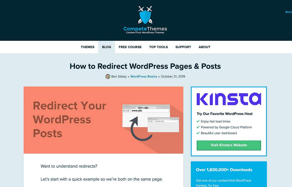Redirigir las páginas de publicaciones