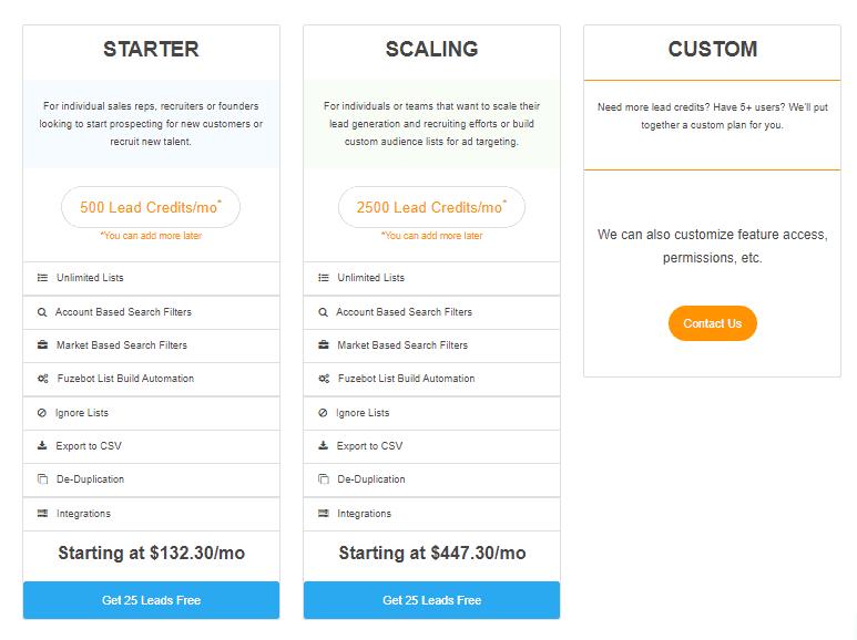 Una captura de pantalla que muestra los precios de los paquetes.