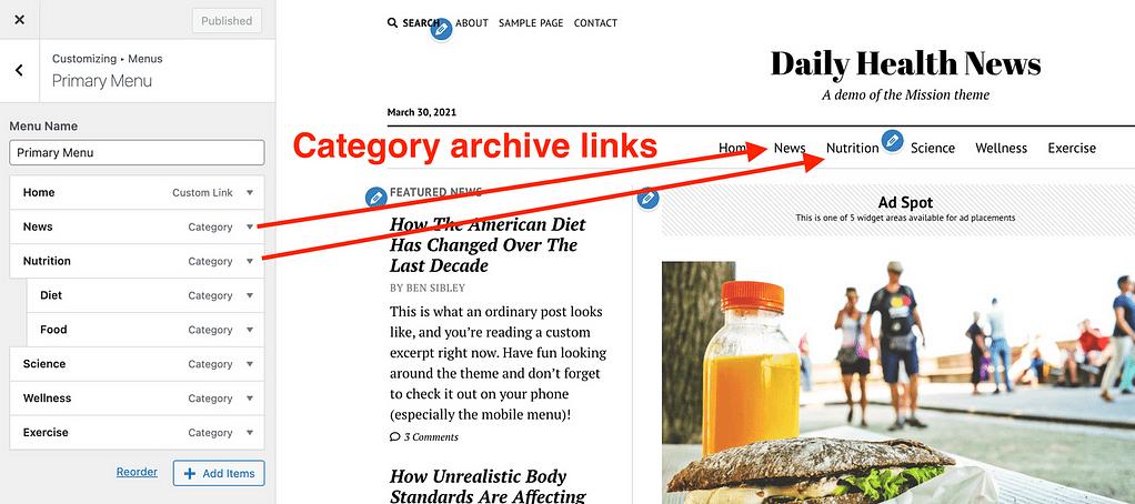 Enlaces de archivo de categoría