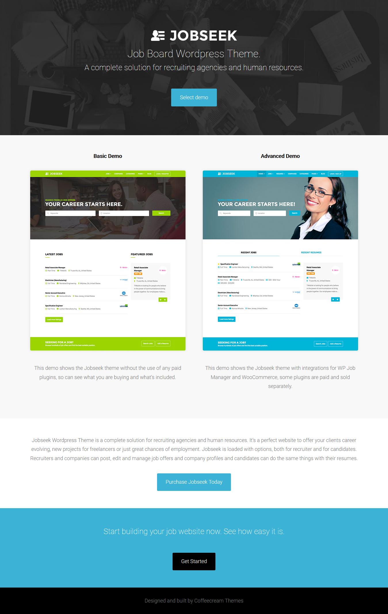 Tema de la bolsa de trabajo de JobSeek Premium WordPress