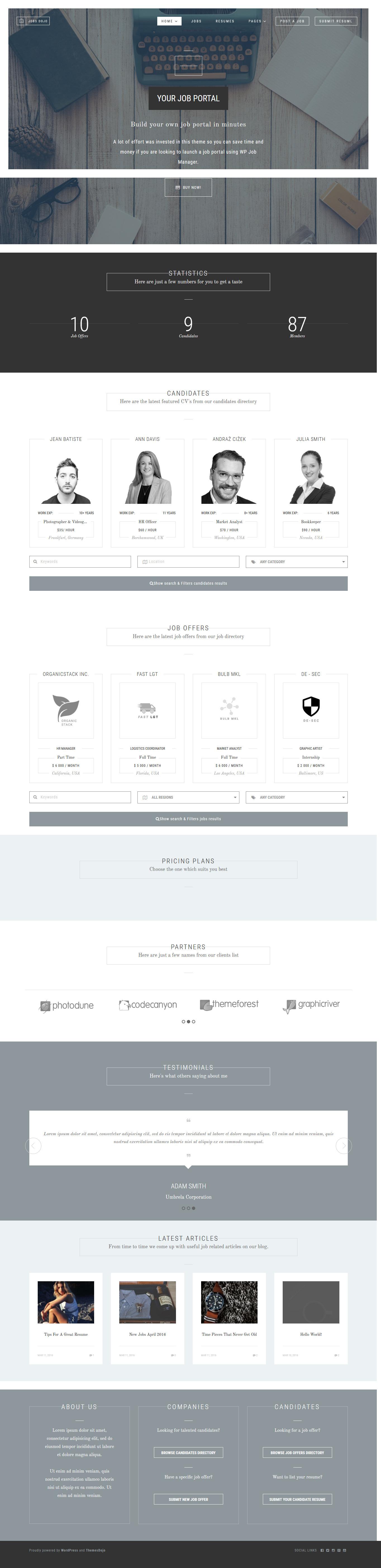 Temas de base de trabajos de WordPress Premium JobsDojo