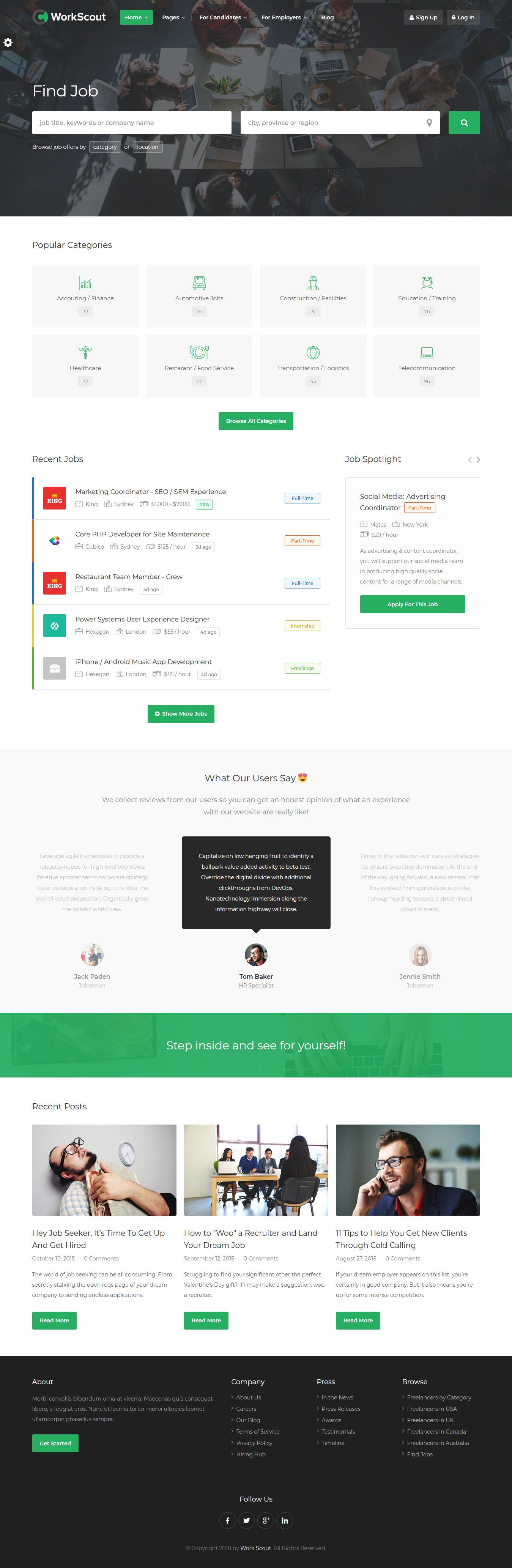 WorkScout Premium WordPress Job Board Theme