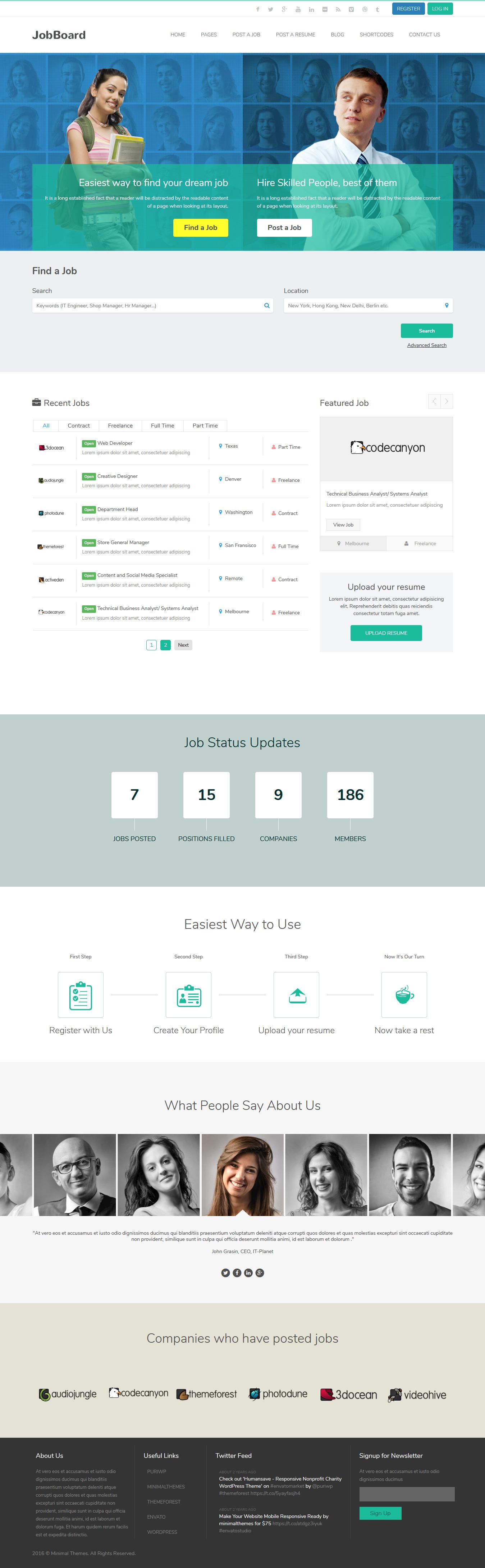 JobBoard Premium WordPress Tema de bolsa de trabajo