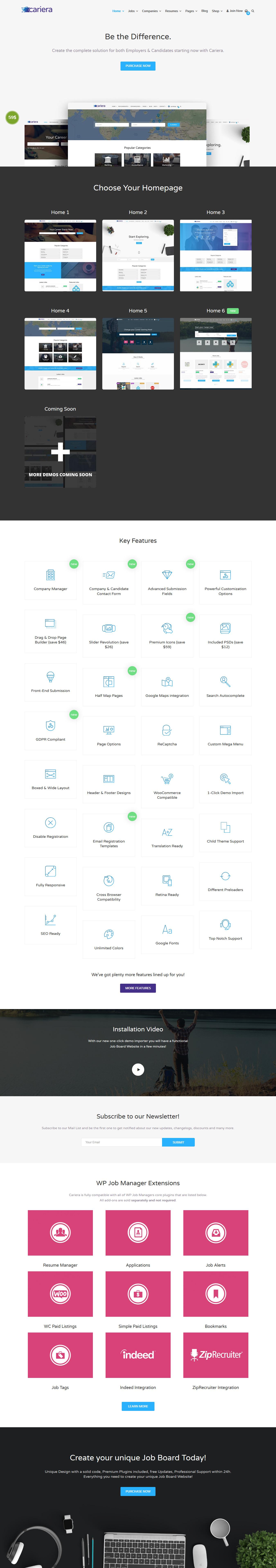 Tema de tablero de trabajo de WordPress Premium de Cariera