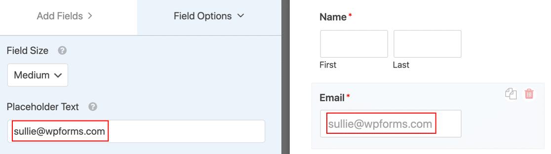 Texto de marcador de posición de WordPress