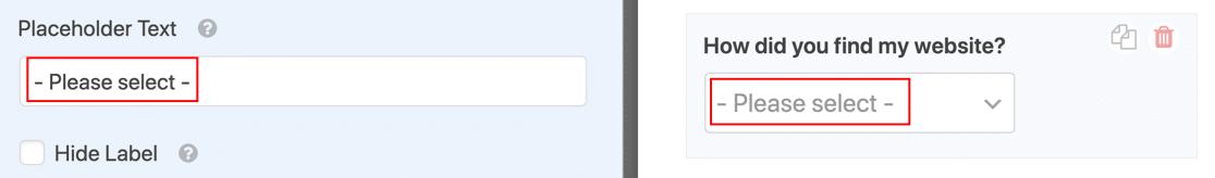 Texto de marcador de posición en el campo desplegable de WordPress