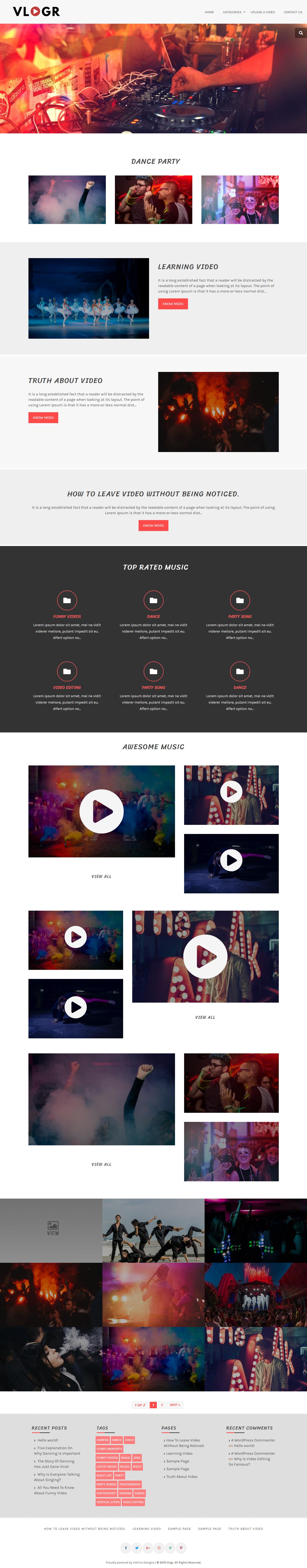 Vlogr: el mejor tema gratuito de WordPress para videos y música