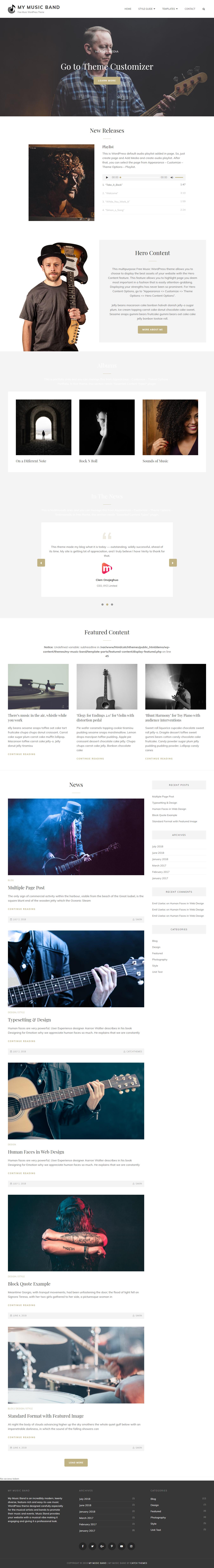 My Music Band: el mejor tema gratuito de WordPress para videos y música