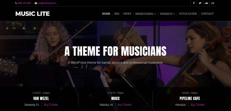 Music Lite: el mejor tema gratuito de WordPress para videos y música