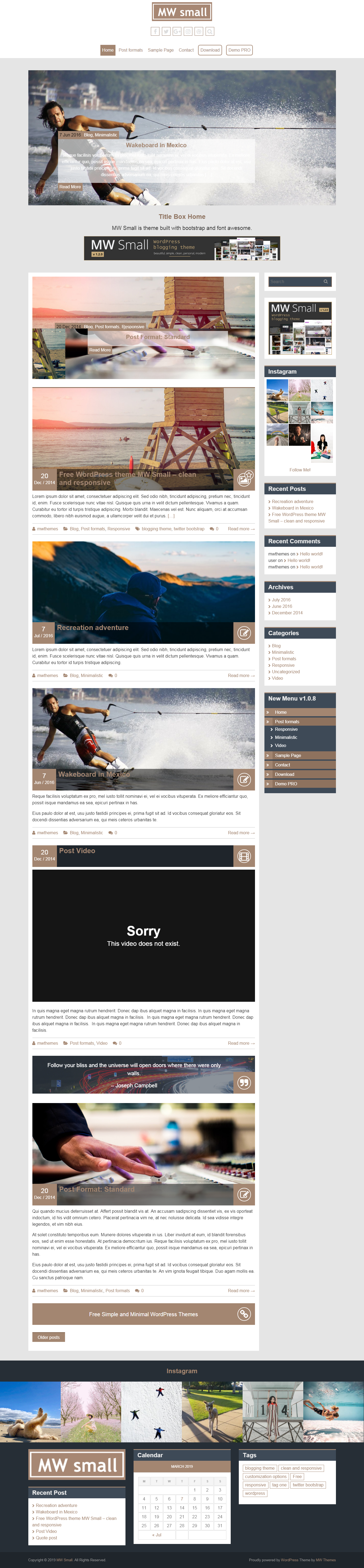 MW Small: el mejor tema gratuito de WordPress para videos y música