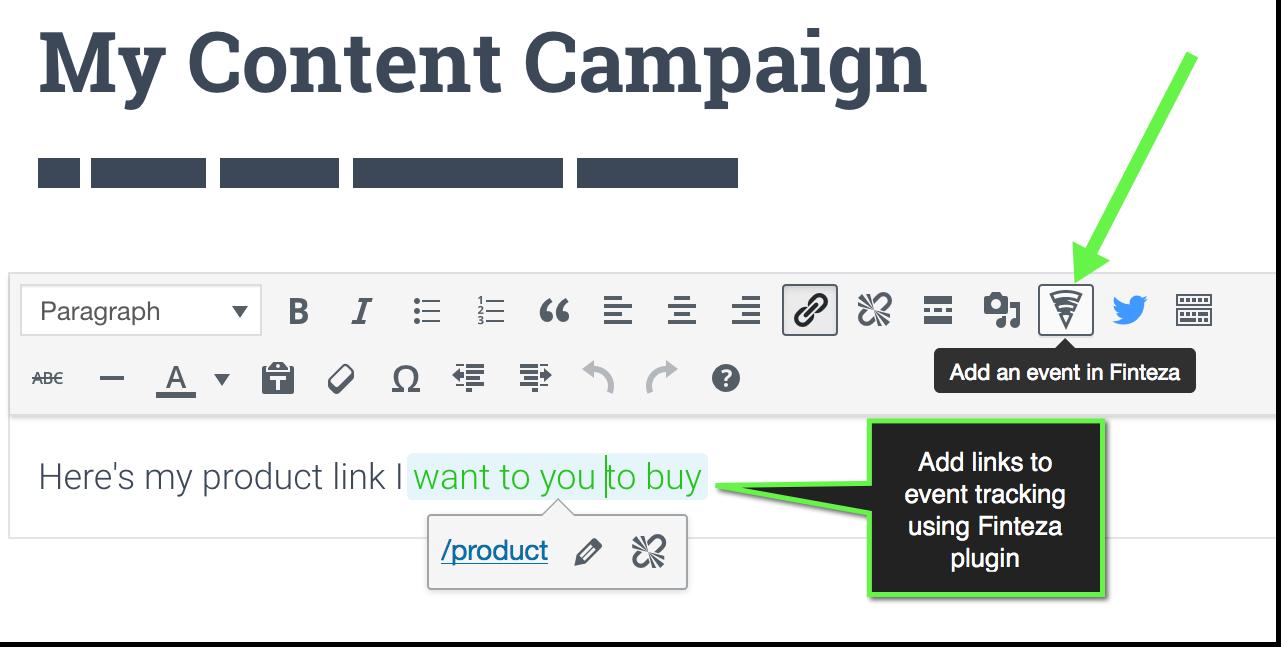 Complemento Finteza para wordpress para agregar enlaces al seguimiento de eventos