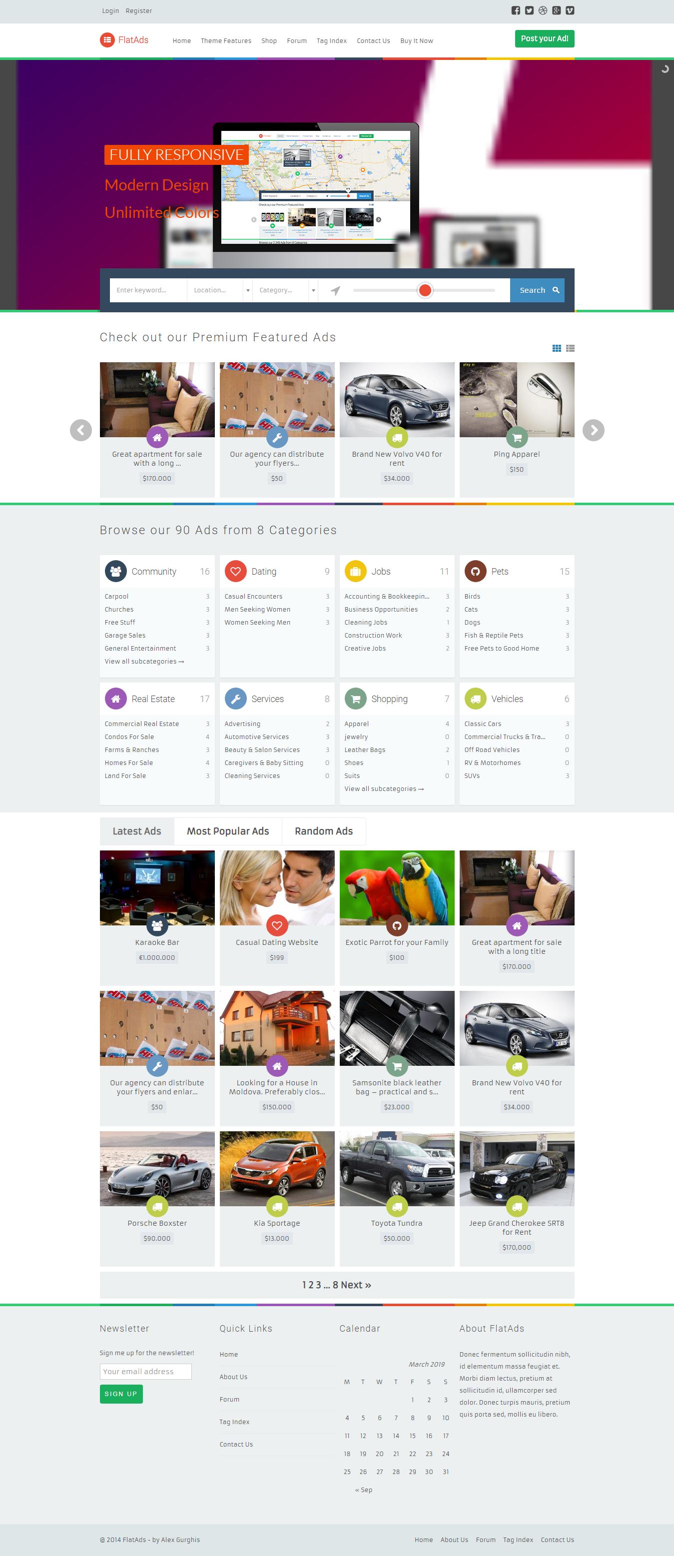 FlatAds: el mejor tema de WordPress clasificado premium