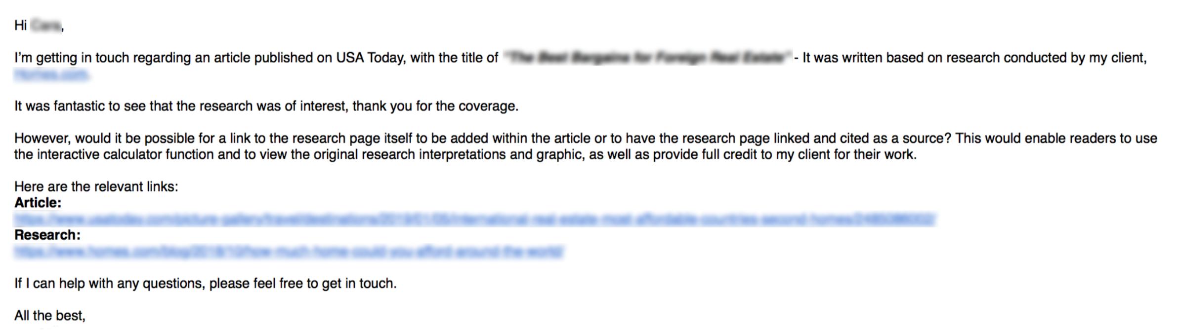 ejemplo de correo electrónico sobre cómo solicitar un vínculo de retroceso a una mención de marca actualmente desvinculada, particularmente cuando agrega valor al lector