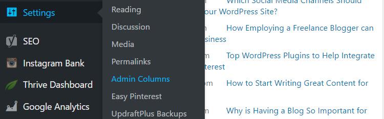 Menú Admin Columns Pro