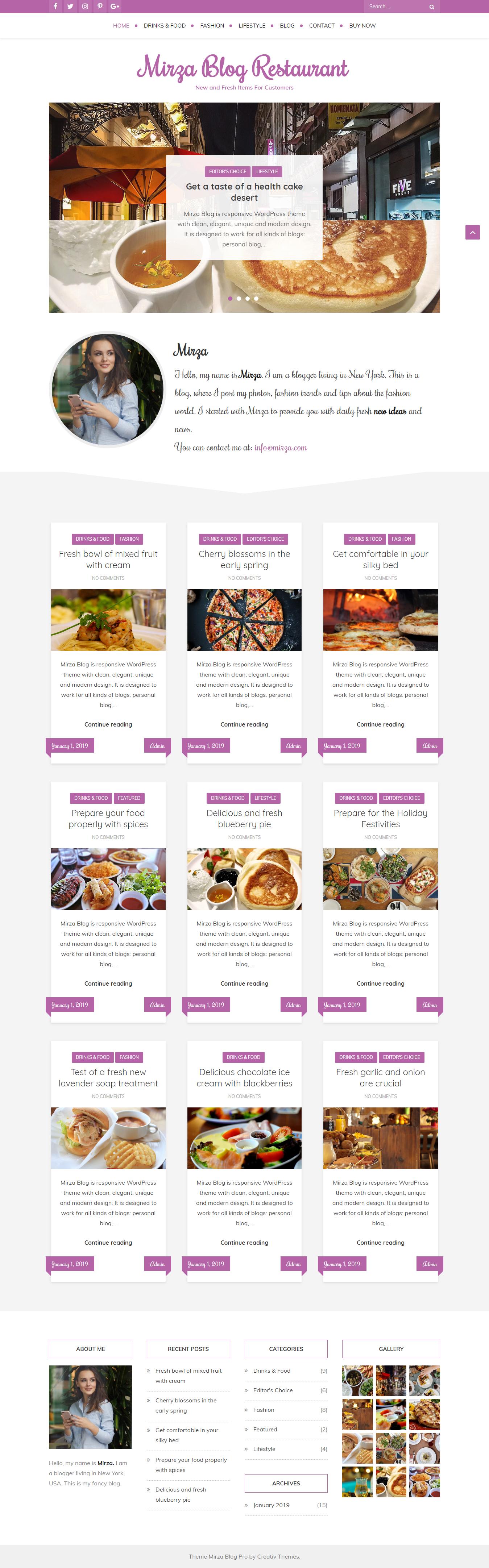Blog de Mirza - El mejor tema de WordPress de estilo de vida gratuito