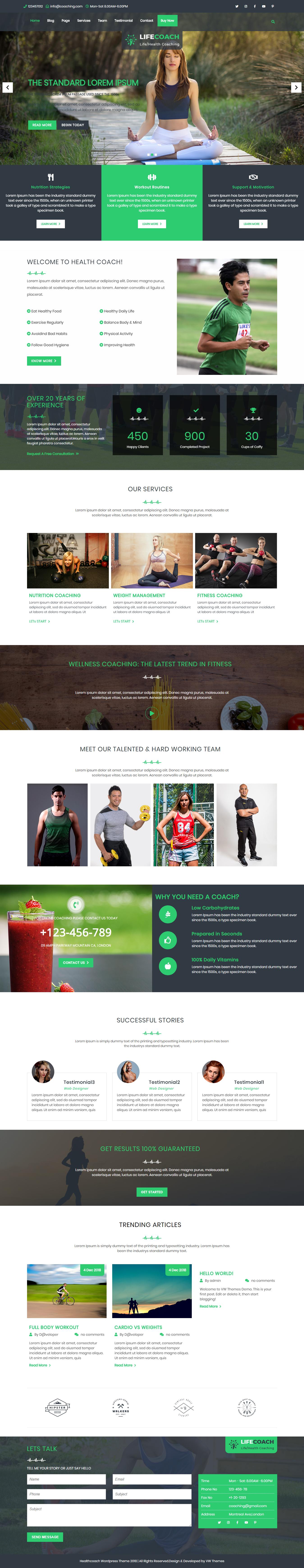 VW Health Coaching: el mejor tema de WordPress de estilo de vida gratuito