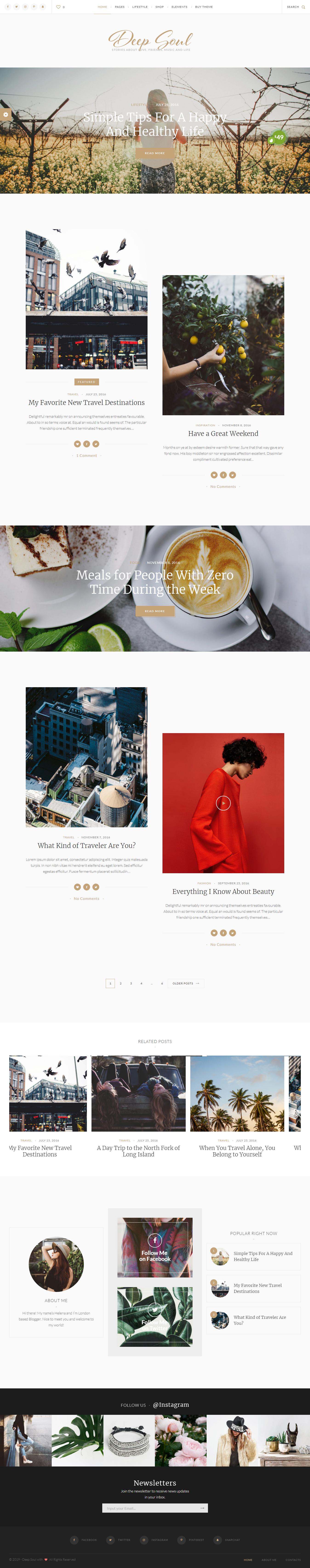 Deep Soul: el mejor tema de WordPress de estilo de vida premium