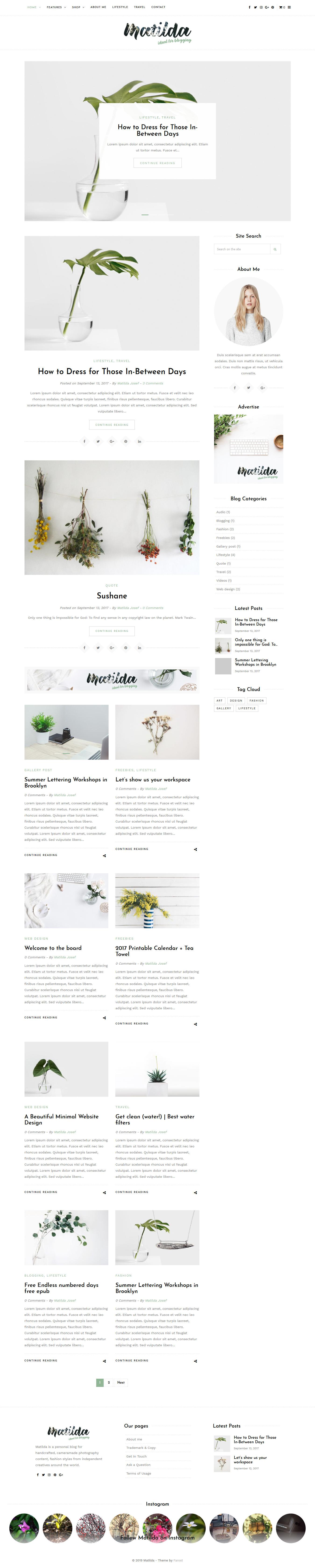 Matilda - Mejor tema de WordPress de estilo de vida premium