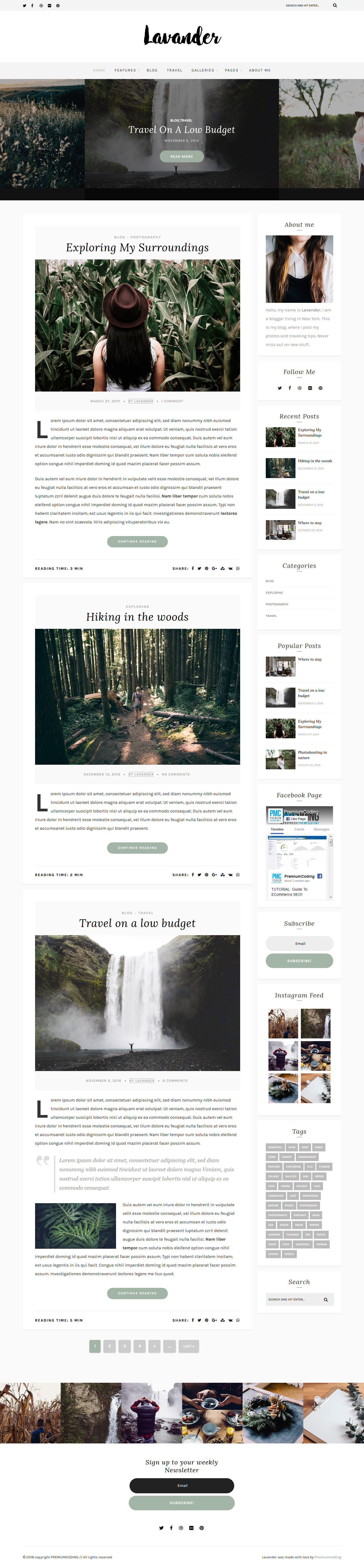 Lavander: el mejor tema de WordPress de estilo de vida premium