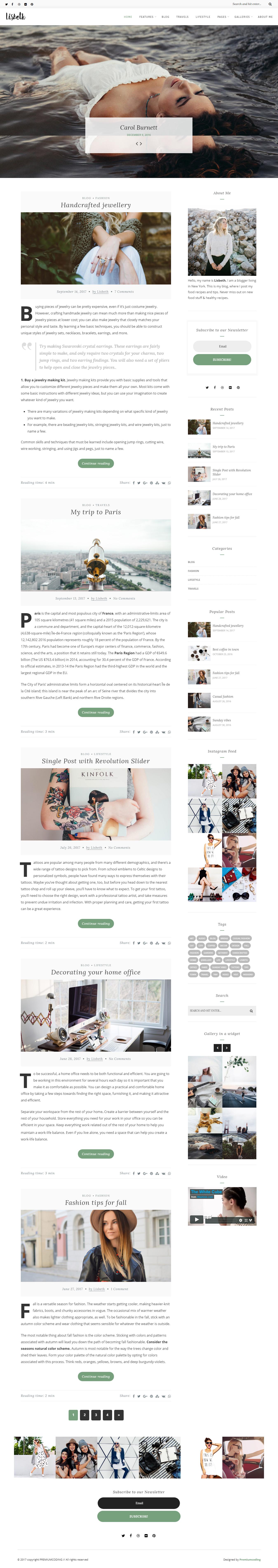 Lisbeth - Mejor tema de WordPress de estilo de vida premium