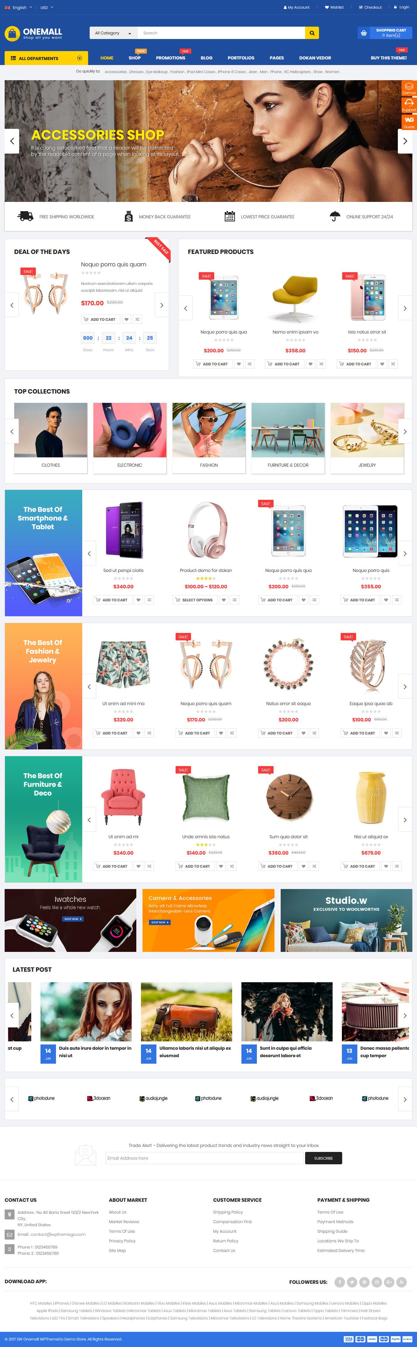Onemall - Mejor tema de WordPress de Marketplace Premium