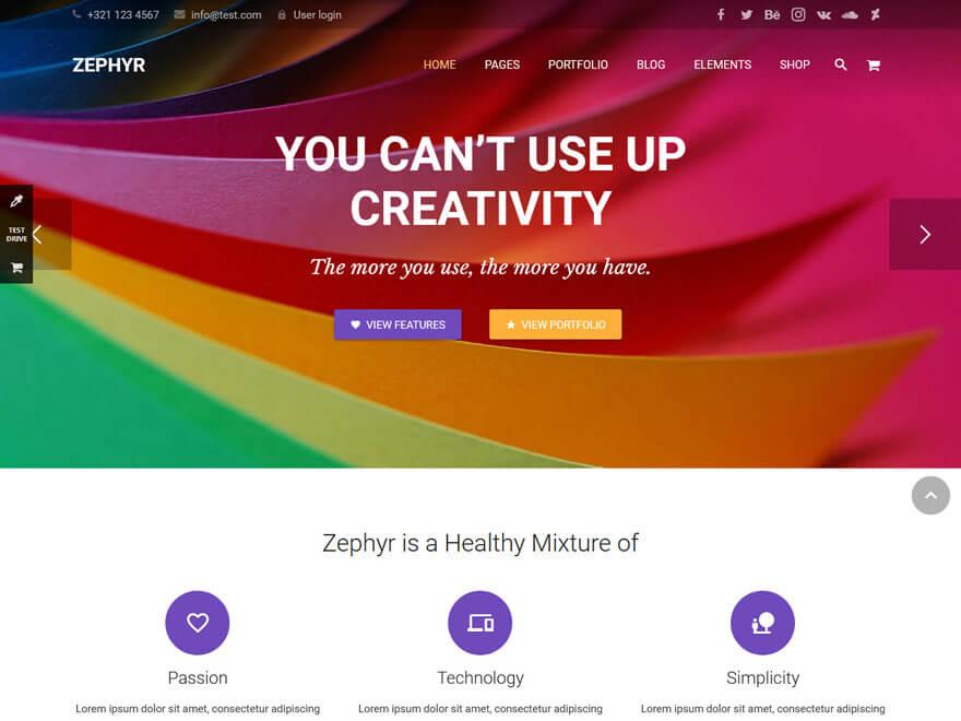 Zephyr-Best Premium Material Design Temas de WordPress 2018