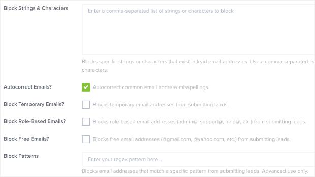 Más opciones de filtro para verificar direcciones de correo electrónico