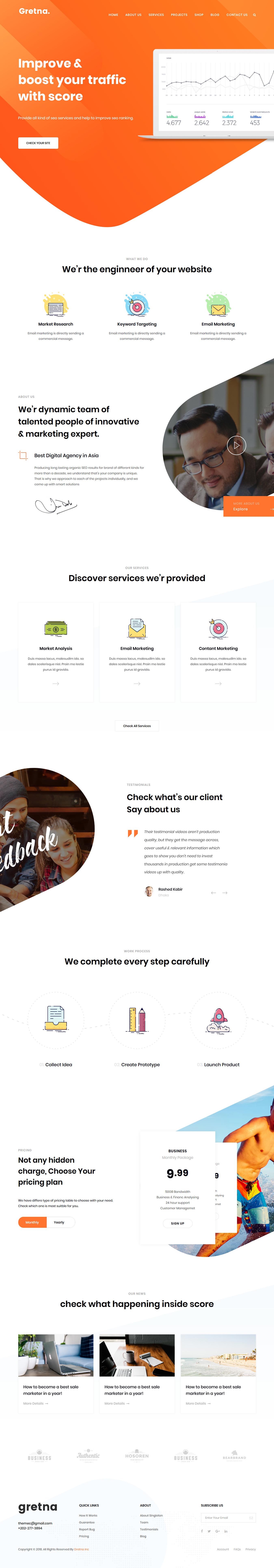 Gretna - Mejor tema de WordPress para agencia de SEO premium