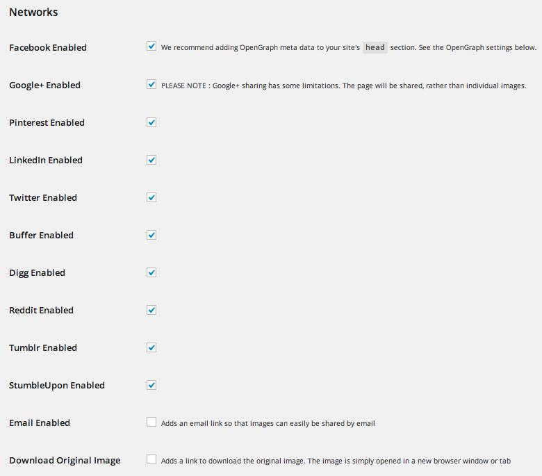 Configuración de los iconos sociales de Foobox