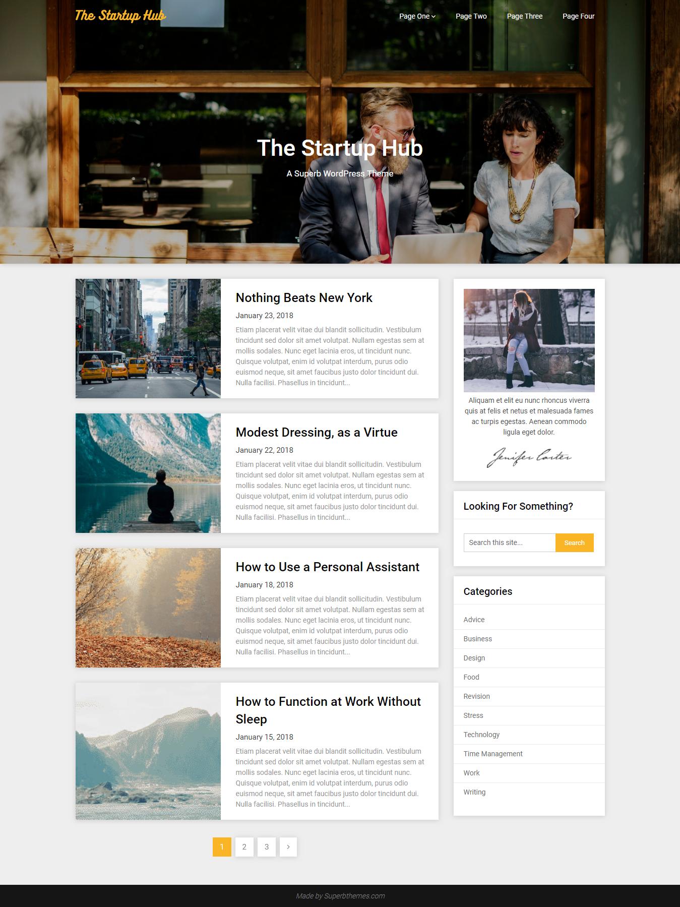 Startup Hub - Los mejores temas gratuitos de WordPress para agencias de SEO