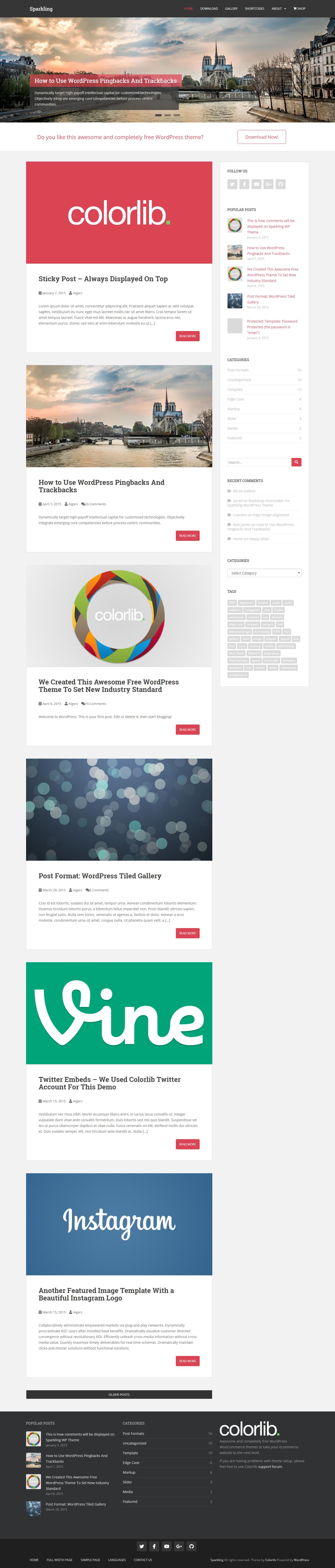 Sparkling: el mejor tema gratuito de WordPress para agencias de SEO