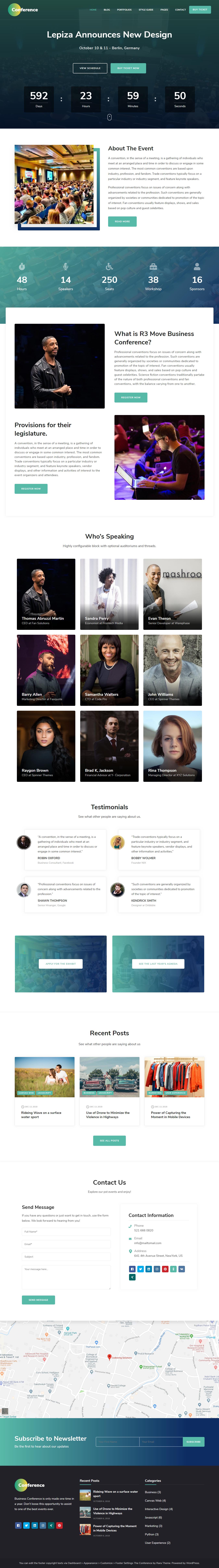 The Conference - Mejor tema de WordPress gratuito para agencias de SEO