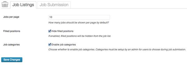 Configuración: listados de trabajos