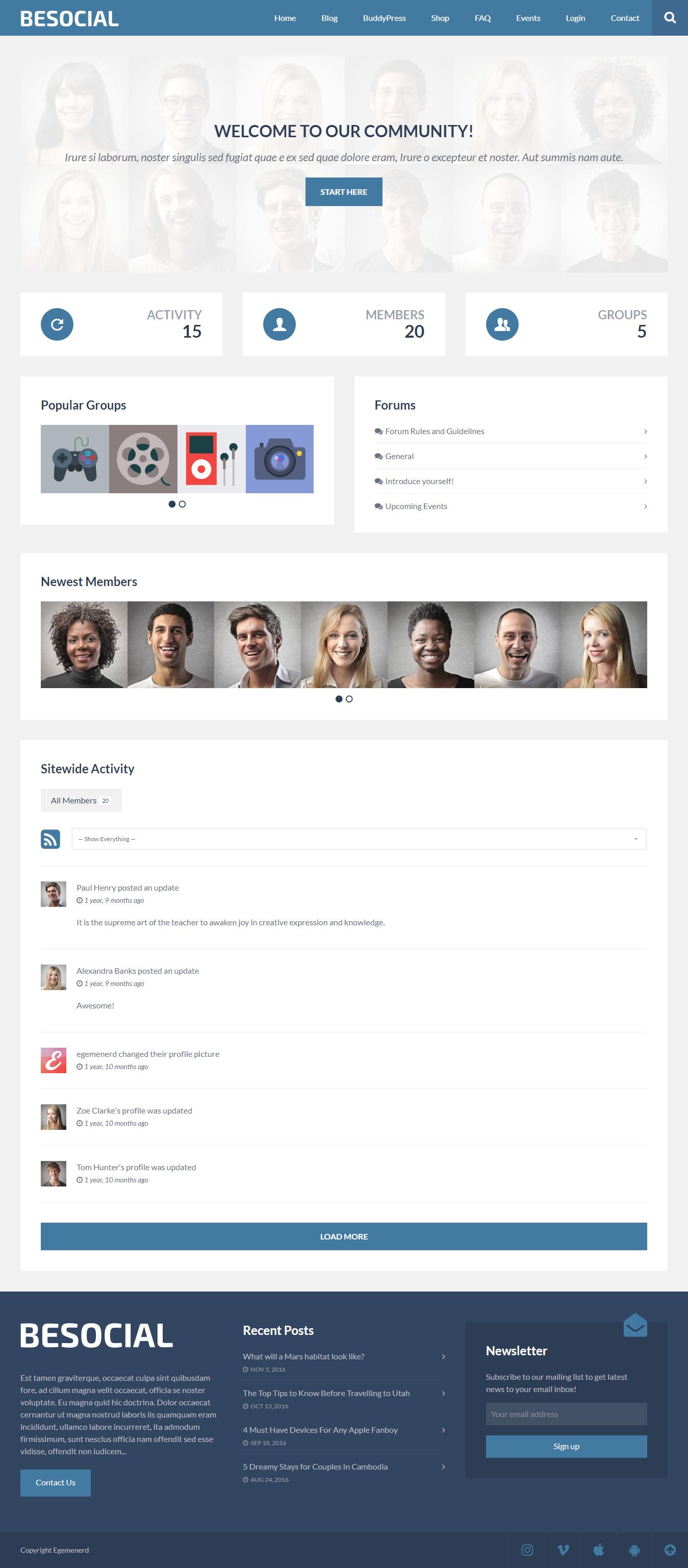 Besocial - Mejor tema premium de WordPress para BuddyPress