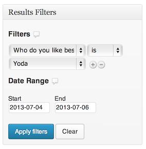 Formas de gravedad: filtros de encuesta