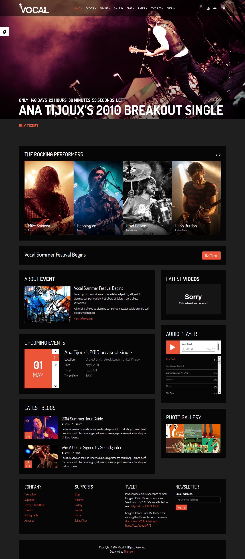 Vocal - Mejor tema de WordPress para eventos premium