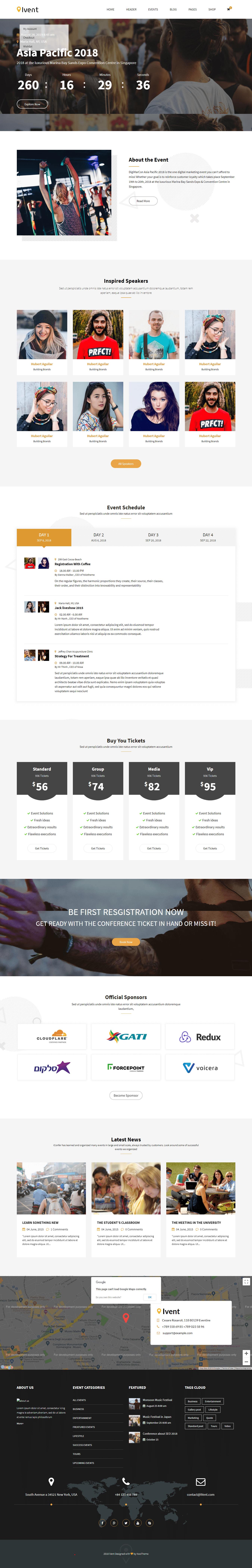 iVent - Mejor tema de WordPress para eventos premium