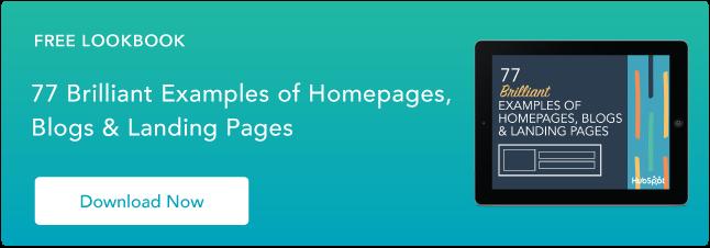 ejemplos de diseño brillante de página de inicio, blog y página de destino