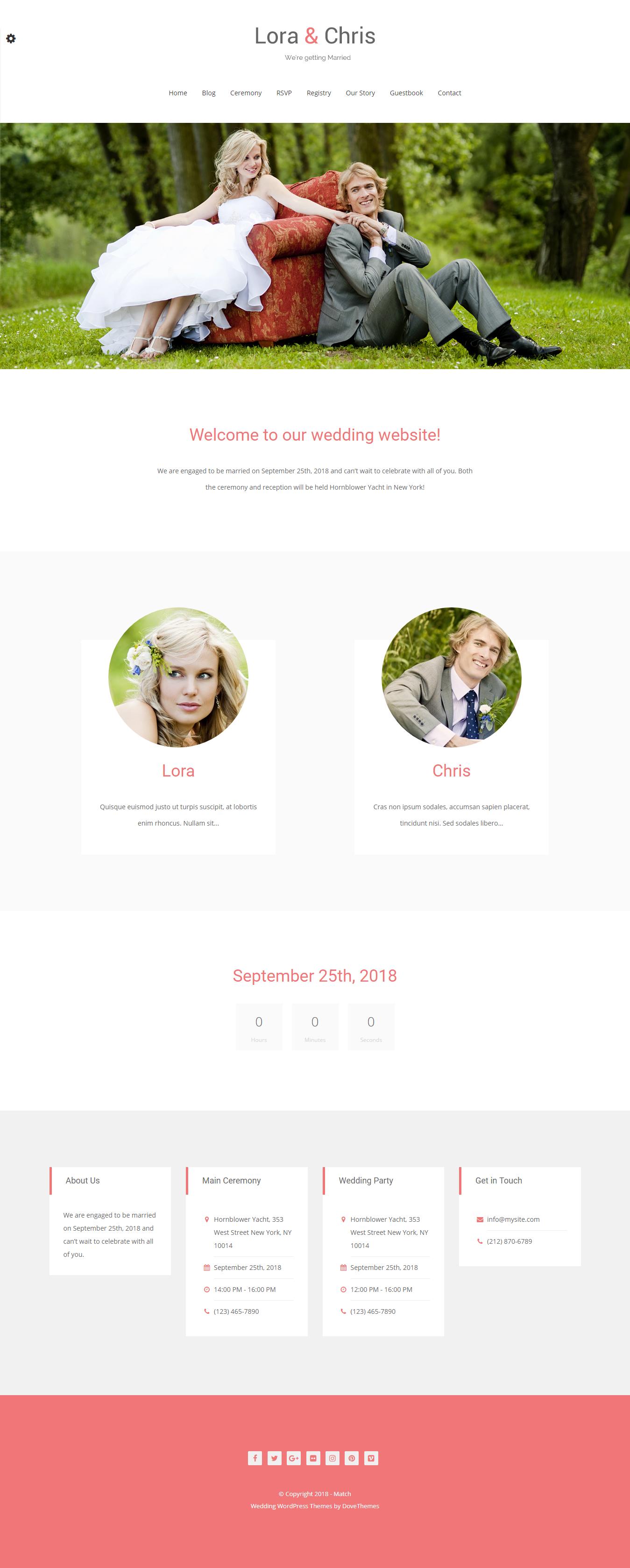 Match - El mejor tema gratuito de WordPress para bodas