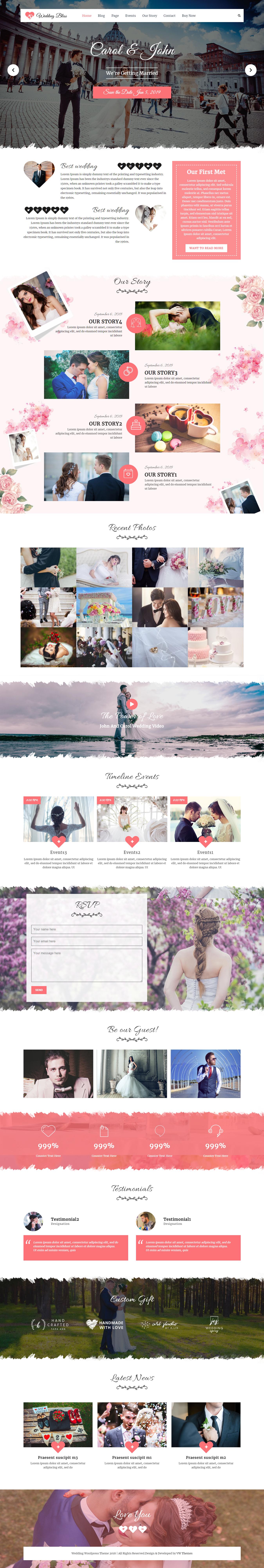 VW Wedding: el mejor tema gratuito de WordPress para bodas