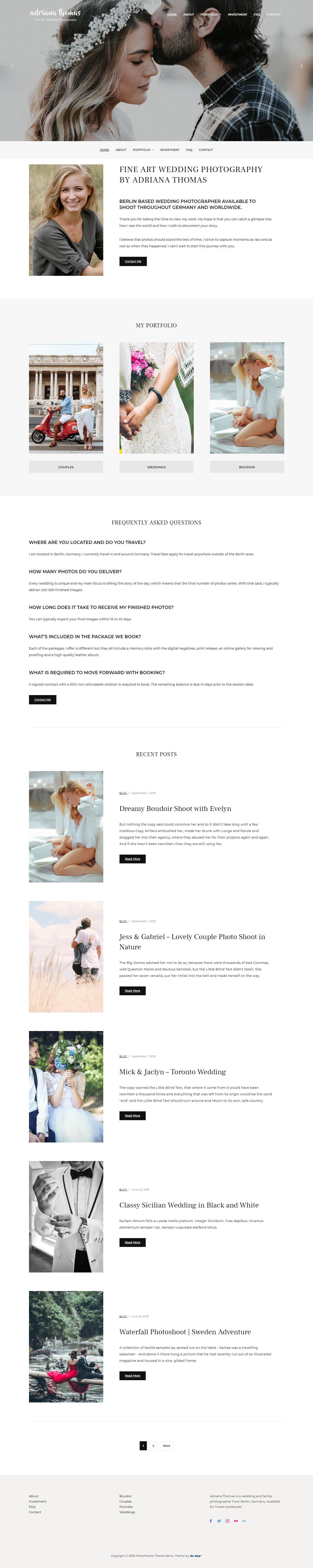 PhotoFrame - El mejor tema gratuito de WordPress para bodas