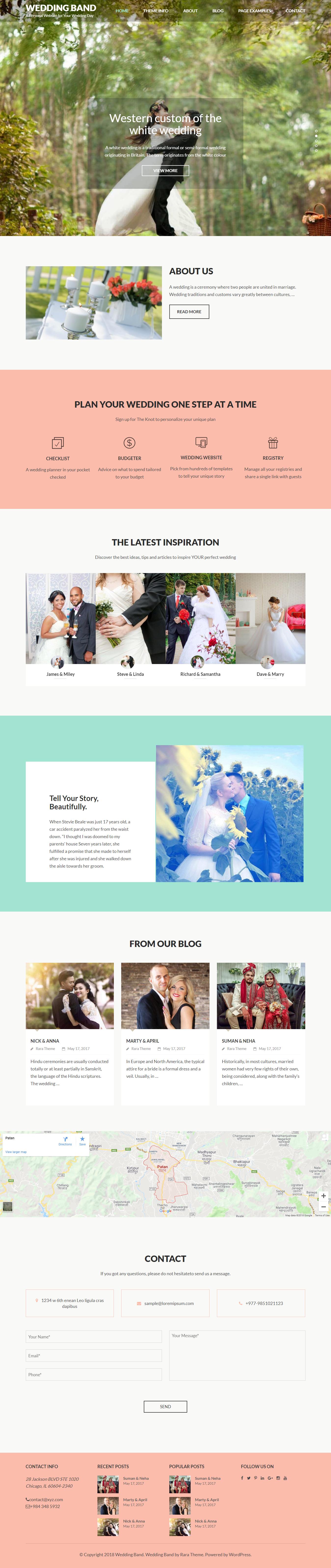 Wedding Band - El mejor tema gratuito de WordPress para bodas