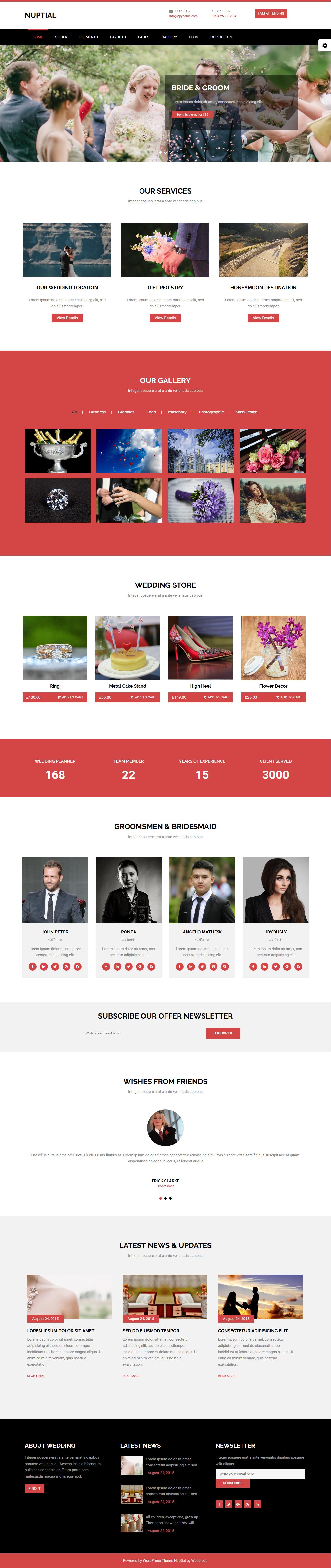 Nuptial - El mejor tema gratuito de WordPress para bodas