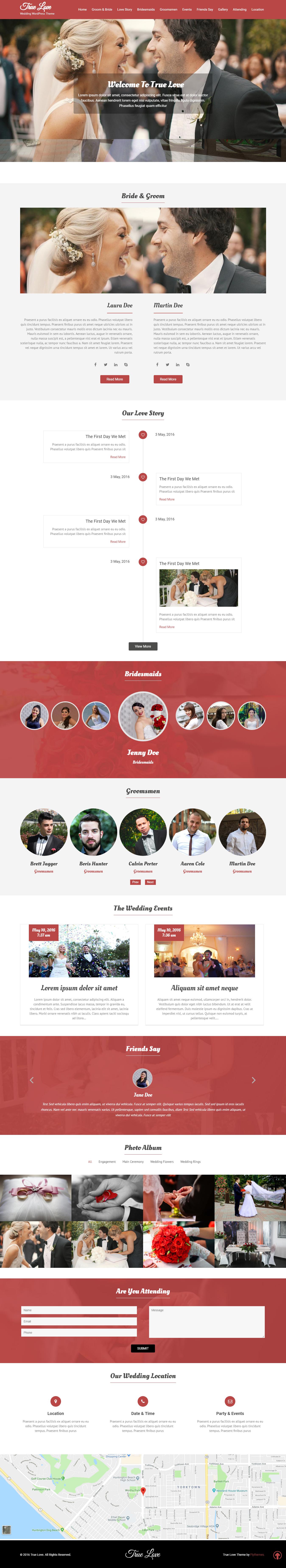 Truelove: el mejor tema gratuito de WordPress para bodas