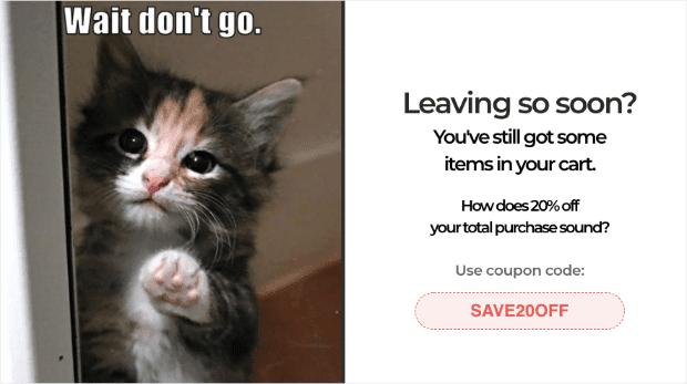 Ventana emergente de intención de salida de WooCommerce